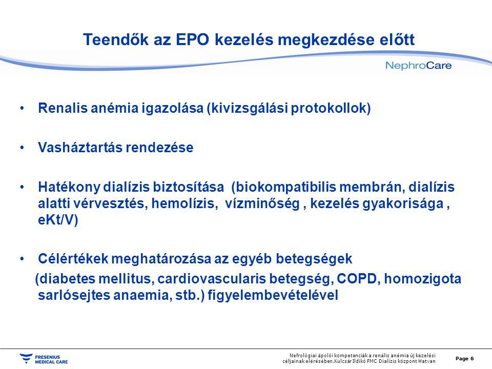 Page 6 Nefrológiai ápolói kompetenciák a renális anémia új kezelési céljainak elérésében,Kulcsár Ildikó FMC Dialízis központ Hatvan Teendők az EPO kez
