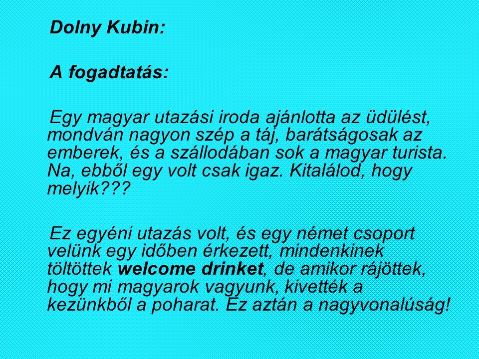 Dolny Kubin: A fogadtatás: Egy magyar utazási iroda ajánlotta az üdülést, mondván nagyon szép a táj, barátságosak az emberek, és a szállodában sok a m