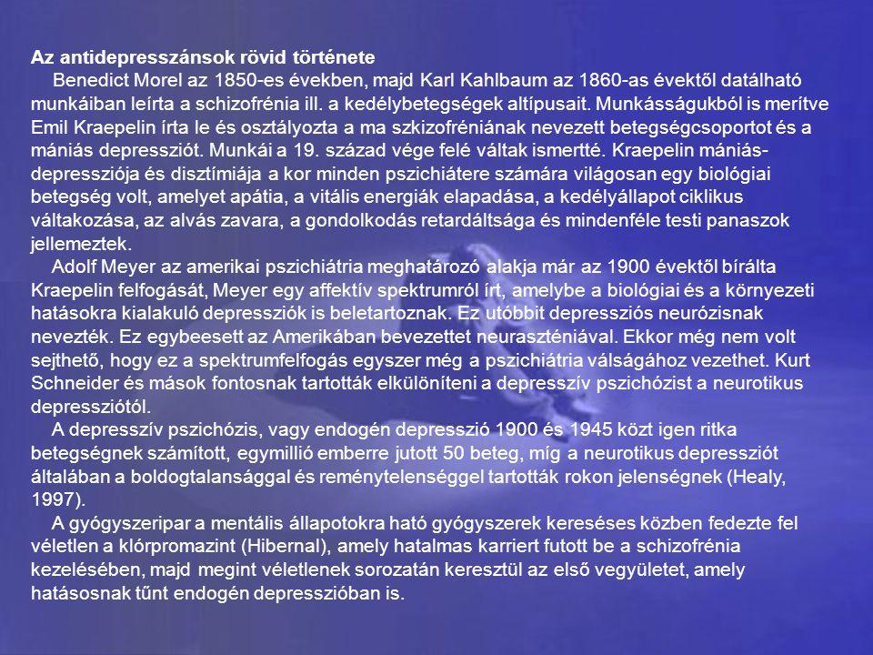 Az antidepresszánsok rövid története Benedict Morel az 1850-es években, majd Karl Kahlbaum az 1860-as évektől datálható munkáiban leírta a schizofréni