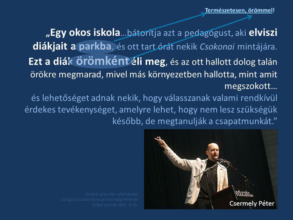 Rocard-jelentés - első kézből Szilágyi Zsuzsa interjúja Csermely Péterrel Fizikai szemle 2007.