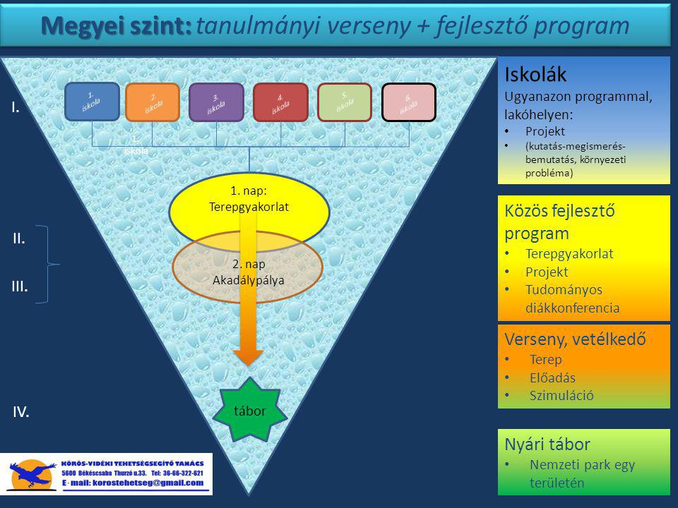 Megyei szint: Megyei szint: tanulmányi verseny + fejlesztő program Iskolák Ugyanazon programmal, lakóhelyen: Projekt (kutatás-megismerés- bemutatás, környezeti probléma) I.