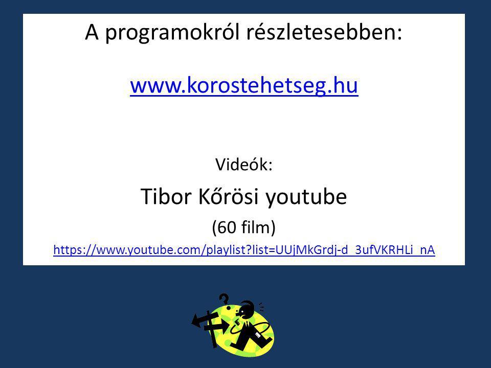A programokról részletesebben: www.korostehetseg.hu Videók: Tibor Kőrösi youtube (60 film) https://www.youtube.com/playlist?list=UUjMkGrdj-d_3ufVKRHLi