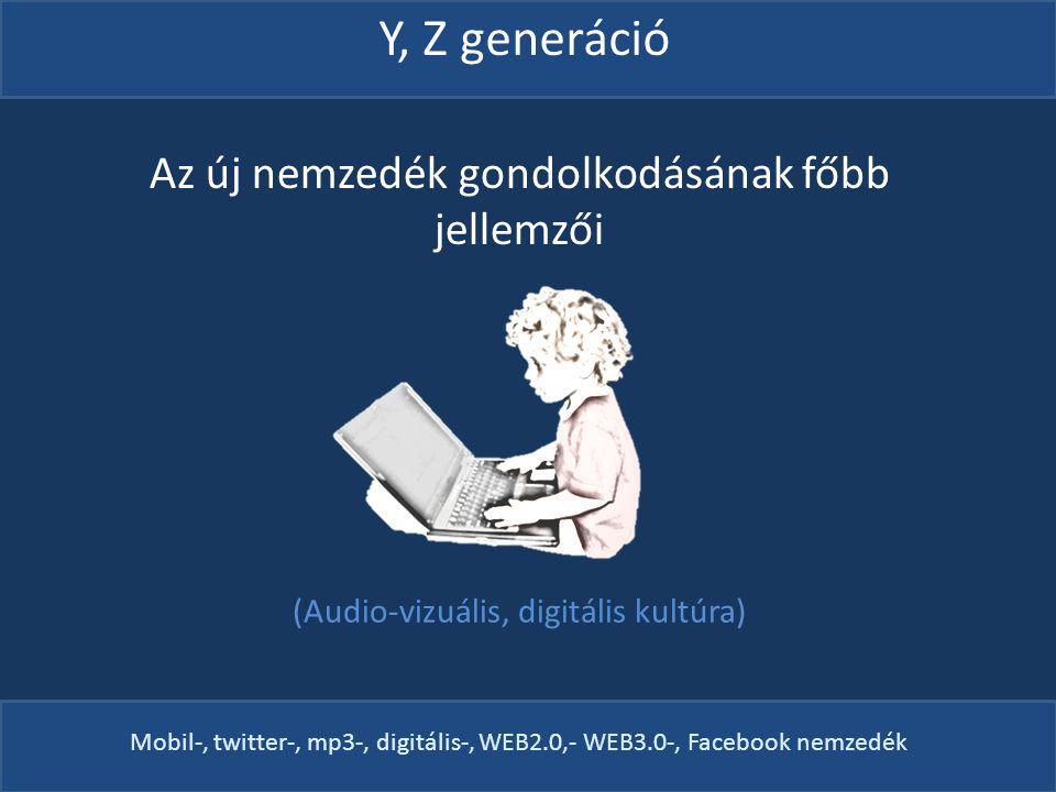 Az új nemzedék gondolkodásának főbb jellemzői (Audio-vizuális, digitális kultúra) Y, Z generáció Mobil-, twitter-, mp3-, digitális-, WEB2.0,- WEB3.0-, Facebook nemzedék