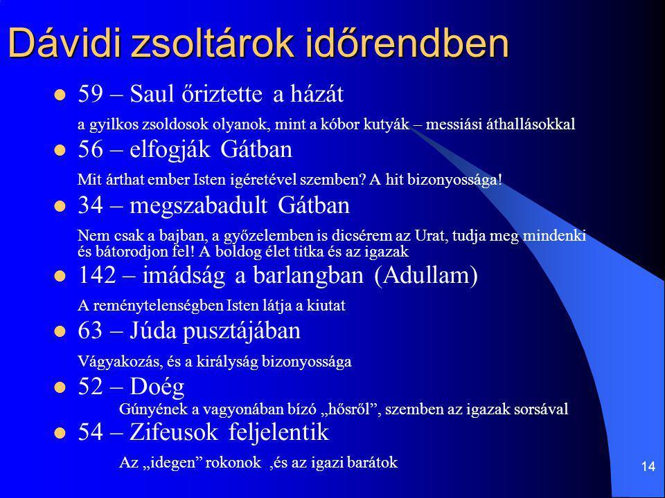 14 Dávidi zsoltárok időrendben 59 – Saul őriztette a házát a gyilkos zsoldosok olyanok, mint a kóbor kutyák – messiási áthallásokkal 56 – elfogják Gát