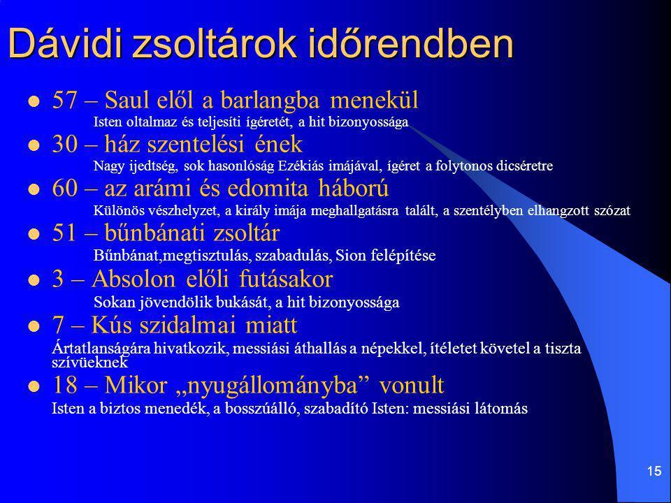 15 Dávidi zsoltárok időrendben 57 – Saul elől a barlangba menekül Isten oltalmaz és teljesíti ígéretét, a hit bizonyossága 30 – ház szentelési ének Na