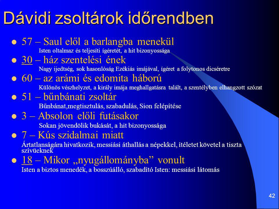 42 Dávidi zsoltárok időrendben 57 – Saul elől a barlangba menekül Isten oltalmaz és teljesíti ígéretét, a hit bizonyossága 30 – ház szentelési ének Na