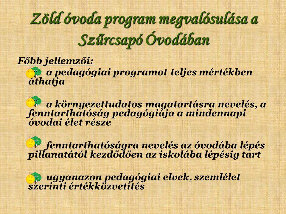 Zöld óvoda program megvalósulása a Szűrcsapó Óvodában Főbb jellemzői: a pedagógiai programot teljes mértékben áthatja a környezettudatos magatartásra