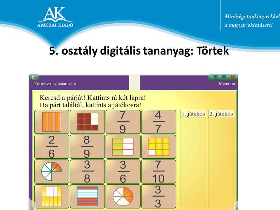 5. osztály digitális tananyag: Törtek