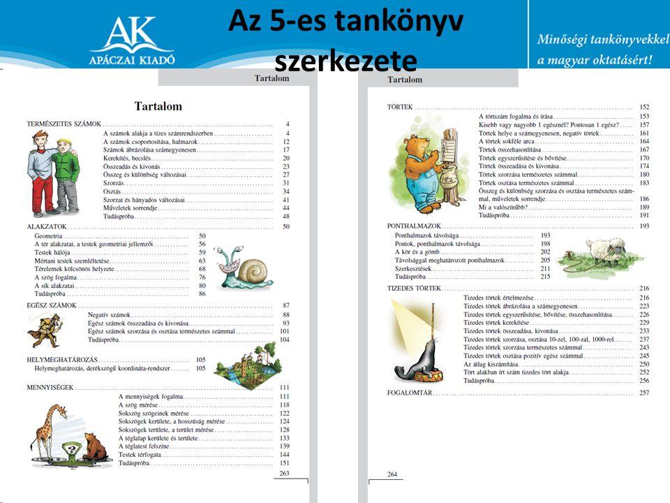 Az 5-es tankönyv szerkezete