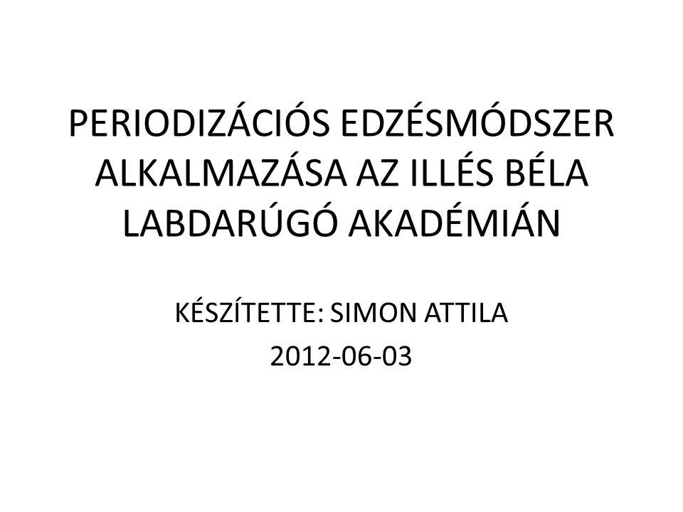 PERIODIZÁCIÓS EDZÉSMÓDSZER ALKALMAZÁSA AZ ILLÉS BÉLA LABDARÚGÓ AKADÉMIÁN KÉSZÍTETTE: SIMON ATTILA 2012-06-03