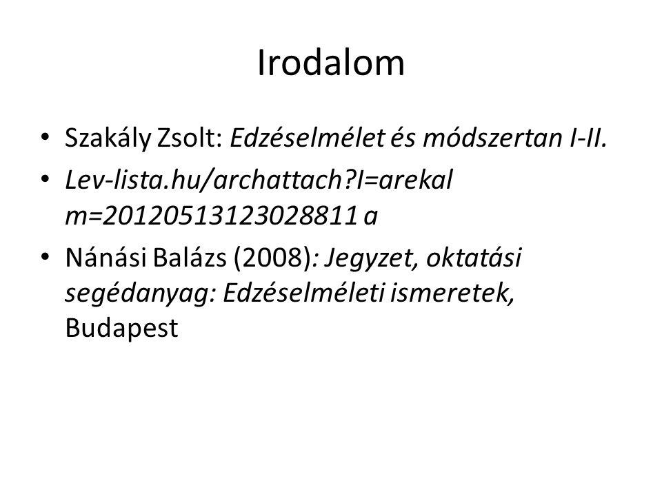 Irodalom Szakály Zsolt: Edzéselmélet és módszertan I-II.