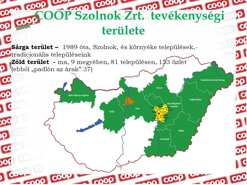 COOP Szolnok Zrt. tevékenységi területe Sárga terület – 1989 óta, Szolnok, és környéke települések,- tradicionális településeink Zöld terület - ma, 9