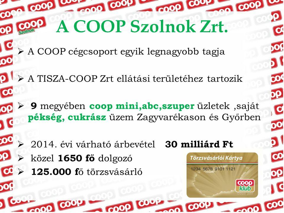 A COOP Szolnok Zrt.  A COOP cégcsoport egyik legnagyobb tagja  A TISZA-COOP Zrt ellátási területéhez tartozik  9 megyében coop mini,abc,szuper üzle