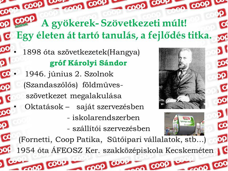 A gyökerek- Szövetkezeti múlt! Egy életen át tartó tanulás, a fejlődés titka. 1898 óta szövetkezetek(Hangya) gróf Károlyi Sándor 1946. június 2. Szoln