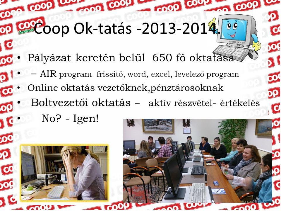 Pályázat keretén belül 650 fő oktatása – AIR program frissítő, word, excel, levelező program Online oktatás vezetőknek,pénztárosoknak Boltvezetői okta