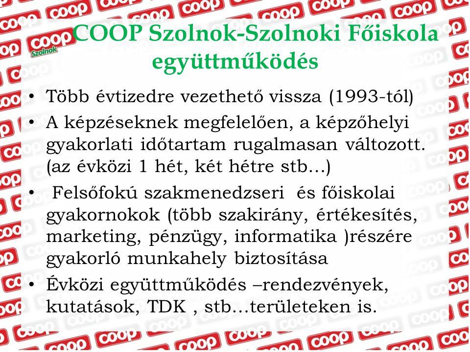 COOP Szolnok-Szolnoki Főiskola együttműködés Több évtizedre vezethető vissza (1993-tól) A képzéseknek megfelelően, a képzőhelyi gyakorlati időtartam r