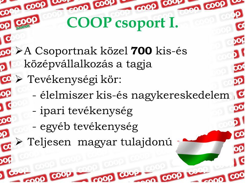 COOP csoport I.  A Csoportnak közel 700 kis-és középvállalkozás a tagja  Tevékenységi kör: - élelmiszer kis-és nagykereskedelem - ipari tevékenység