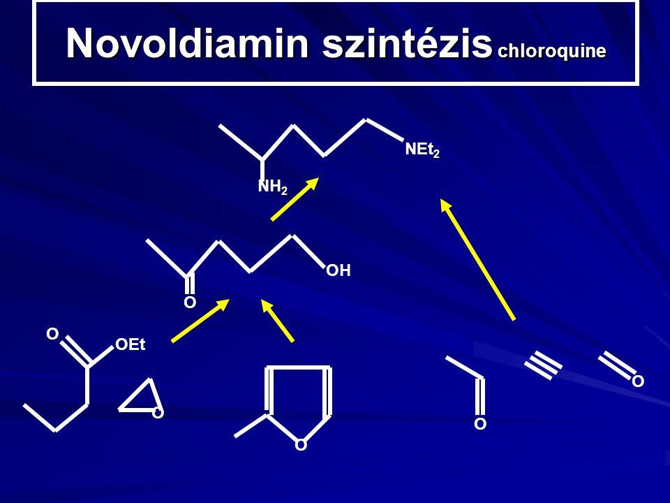 Novoldiamin szintézis chloroquine NEt 2 NH 2 O OH OEt O O O O O