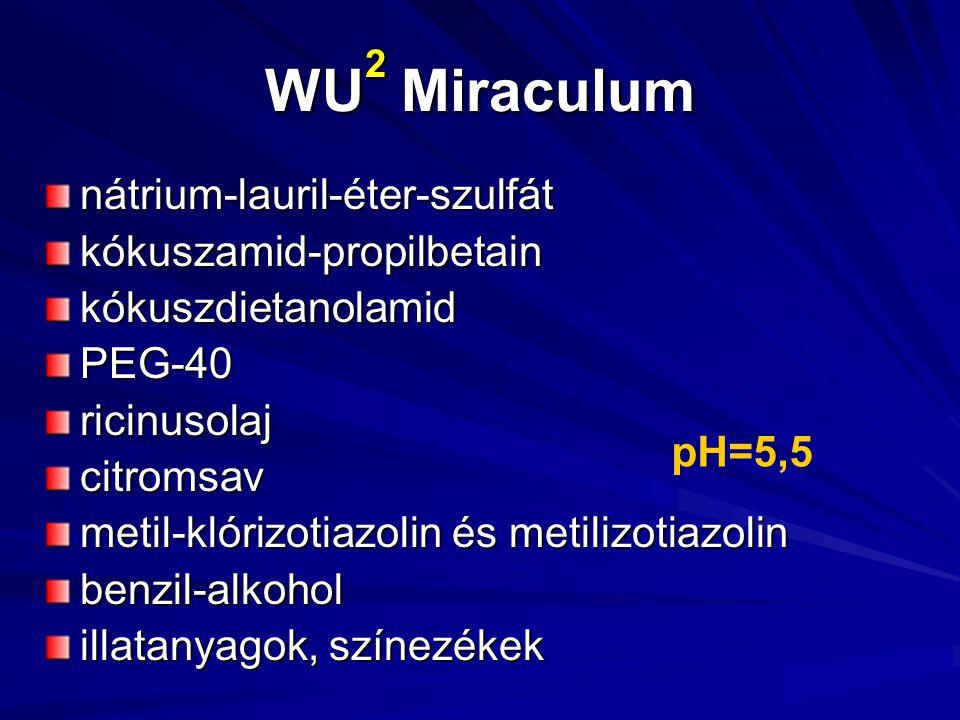WU 2 Miraculum nátrium-lauril-éter-szulfátkókuszamid-propilbetainkókuszdietanolamidPEG-40ricinusolajcitromsav metil-klórizotiazolin és metilizotiazolin benzil-alkohol illatanyagok, színezékek pH=5,5