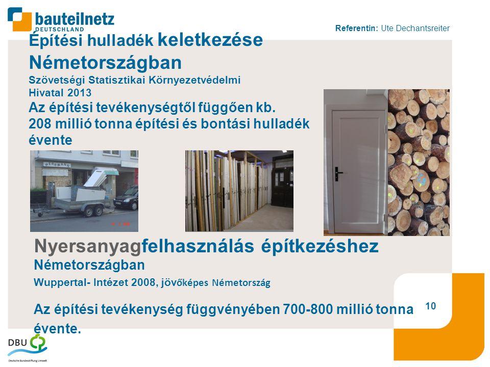 Referentin: Ute Dechantsreiter 10 Építési hulladék keletkezése Németországban Szövetségi Statisztikai Környezetvédelmi Hivatal 2013 Az építési tevékenységtől függően kb.