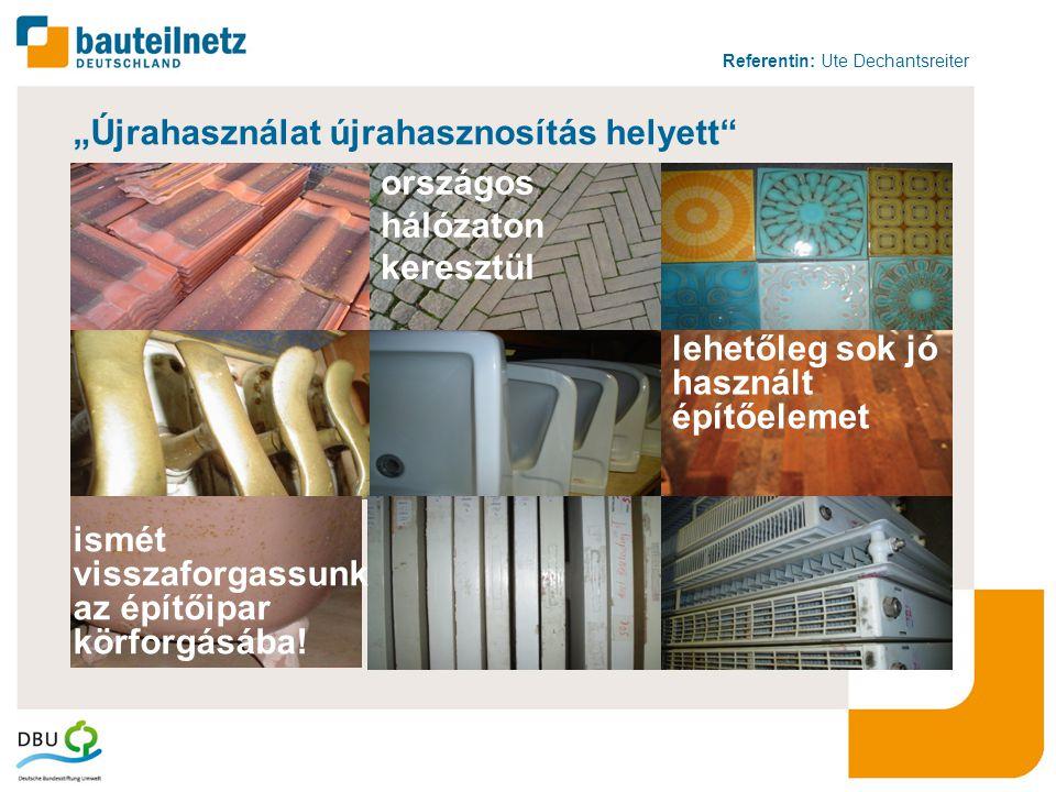 """Referentin: Ute Dechantsreiter 12 """"Újrahasználat újrahasznosítás helyett lehetőleg sok jó használt építőelemet ismét visszaforgassunk az építőipar körforgásába."""