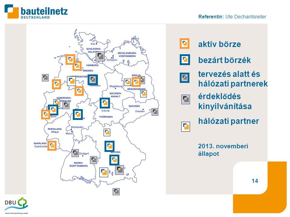 Referentin: Ute Dechantsreiter 14 bezárt börzék aktív börze tervezés alatt és hálózati partnerek érdekl ő dés kinyilvánítása hálózati partner 2013.