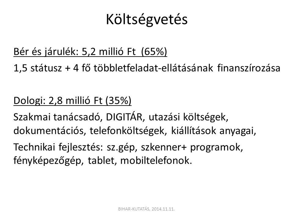 Költségvetés Bér és járulék: 5,2 millió Ft (65%) 1,5 státusz + 4 fő többletfeladat-ellátásának finanszírozása Dologi: 2,8 millió Ft (35%) Szakmai tanácsadó, DIGITÁR, utazási költségek, dokumentációs, telefonköltségek, kiállítások anyagai, Technikai fejlesztés: sz.gép, szkenner+ programok, fényképezőgép, tablet, mobiltelefonok.