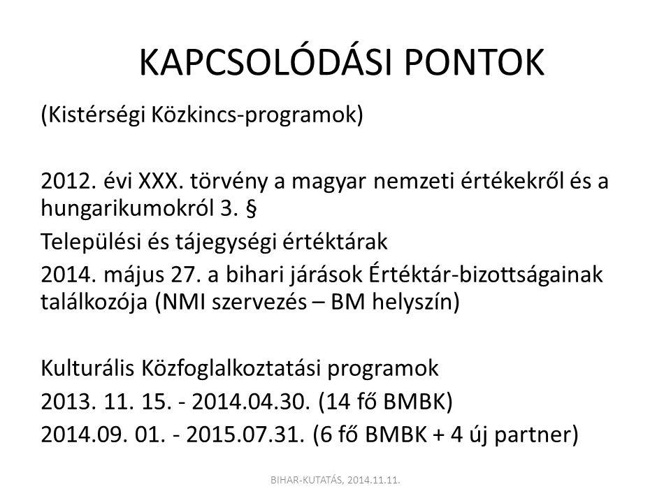 KAPCSOLÓDÁSI PONTOK (Kistérségi Közkincs-programok) 2012. évi XXX. törvény a magyar nemzeti értékekről és a hungarikumokról 3. § Települési és tájegys