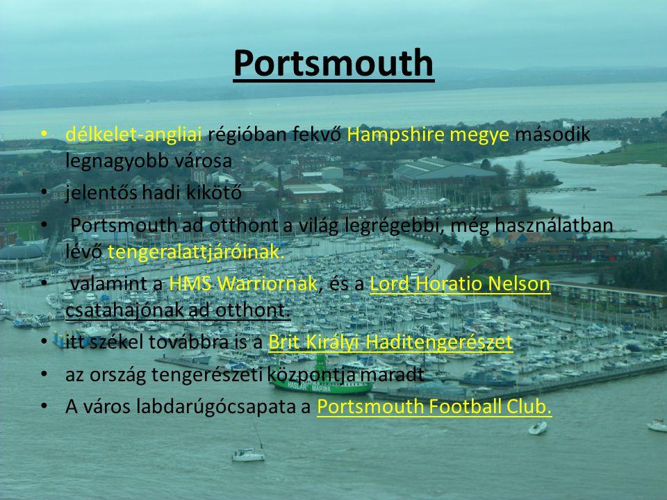 Portsmouth délkelet-angliai régióban fekvő Hampshire megye második legnagyobb városa jelentős hadi kikötő Portsmouth ad otthont a világ legrégebbi, mé