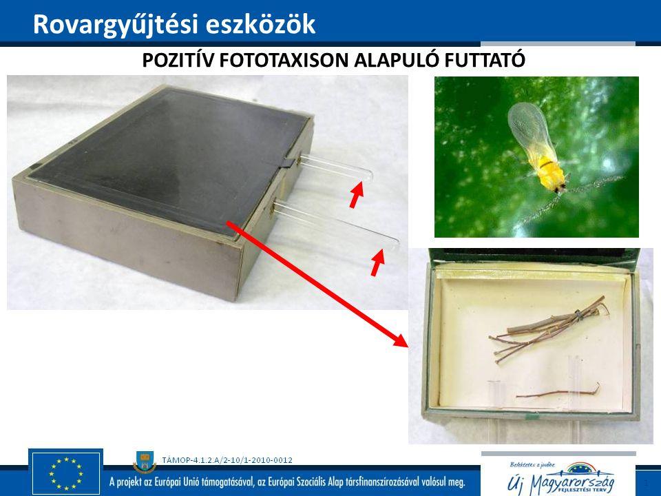 POZITÍV FOTOTAXISON ALAPULÓ FUTTATÓ Rovargyűjtési eszközök