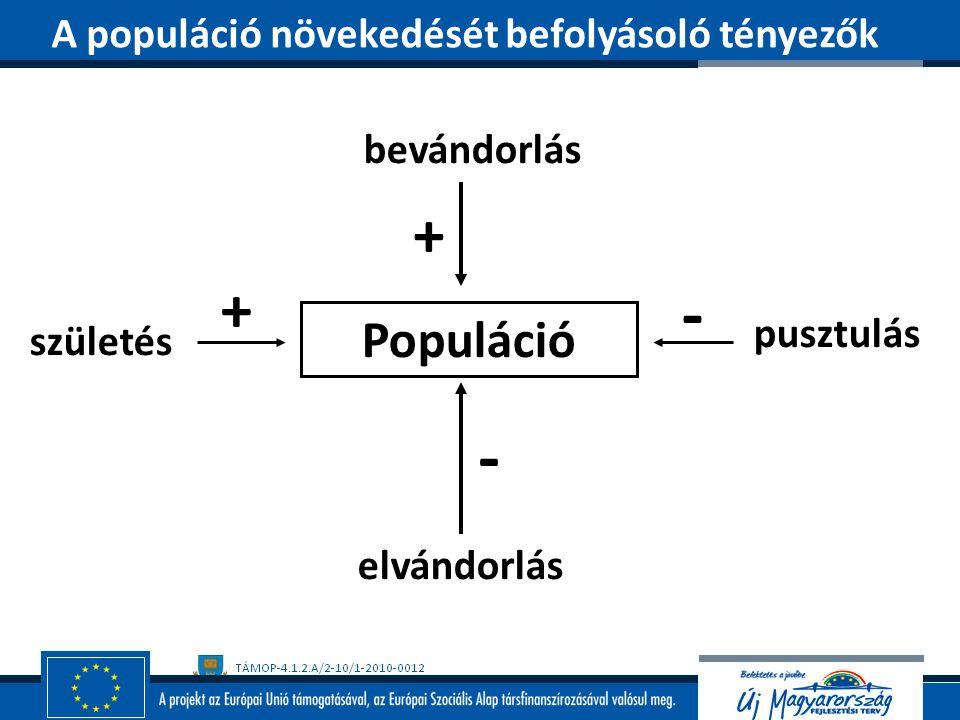 bevándorlás elvándorlás születés pusztulás Populáció + + - - A populáció növekedését befolyásoló tényezők