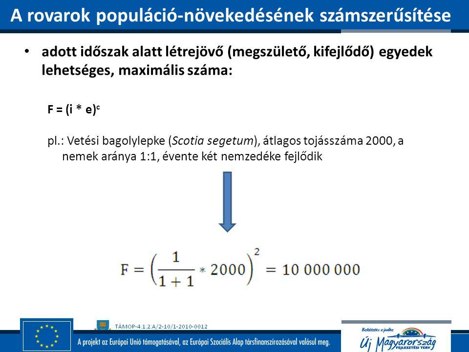 adott időszak alatt létrejövő (megszülető, kifejlődő) egyedek lehetséges, maximális száma: F = (i * e) c pl.: Vetési bagolylepke (Scotia segetum), átl