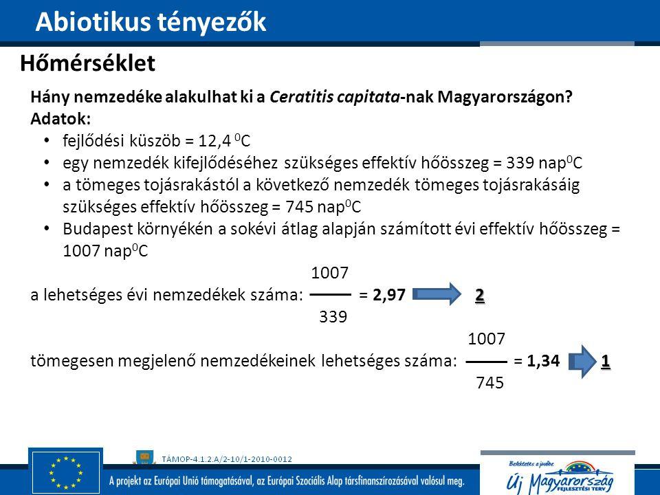 Hőmérséklet Abiotikus tényezők Hány nemzedéke alakulhat ki a Ceratitis capitata-nak Magyarországon? Adatok: fejlődési küszöb = 12,4 0 C egy nemzedék k