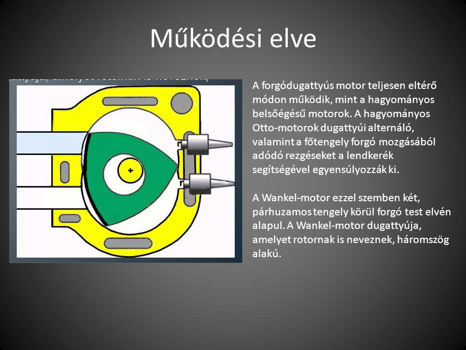 Működési elve A forgódugattyús motor teljesen eltérő módon működik, mint a hagyományos belsőégésű motorok. A hagyományos Otto-motorok dugattyúi altern