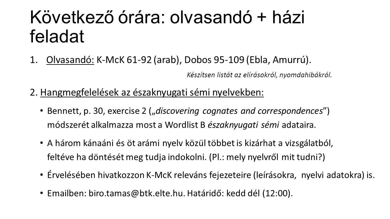 Következő órára: olvasandó + házi feladat 1.Olvasandó: K-McK 61-92 (arab), Dobos 95-109 (Ebla, Amurrú).