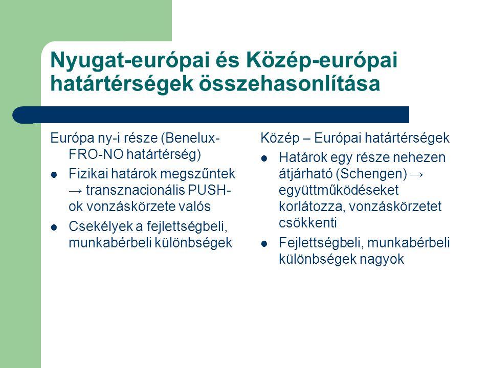 Nyugat-európai és Közép-európai határtérségek összehasonlítása Európa ny-i része (Benelux- FRO-NO határtérség) Fizikai határok megszűntek → transznacionális PUSH- ok vonzáskörzete valós Csekélyek a fejlettségbeli, munkabérbeli különbségek Közép – Európai határtérségek Határok egy része nehezen átjárható (Schengen) → együttműködéseket korlátozza, vonzáskörzetet csökkenti Fejlettségbeli, munkabérbeli különbségek nagyok