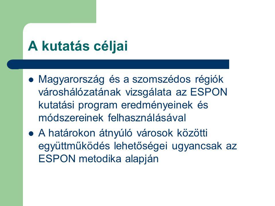 A kutatás céljai Magyarország és a szomszédos régiók városhálózatának vizsgálata az ESPON kutatási program eredményeinek és módszereinek felhasználásával A határokon átnyúló városok közötti együttműködés lehetőségei ugyancsak az ESPON metodika alapján