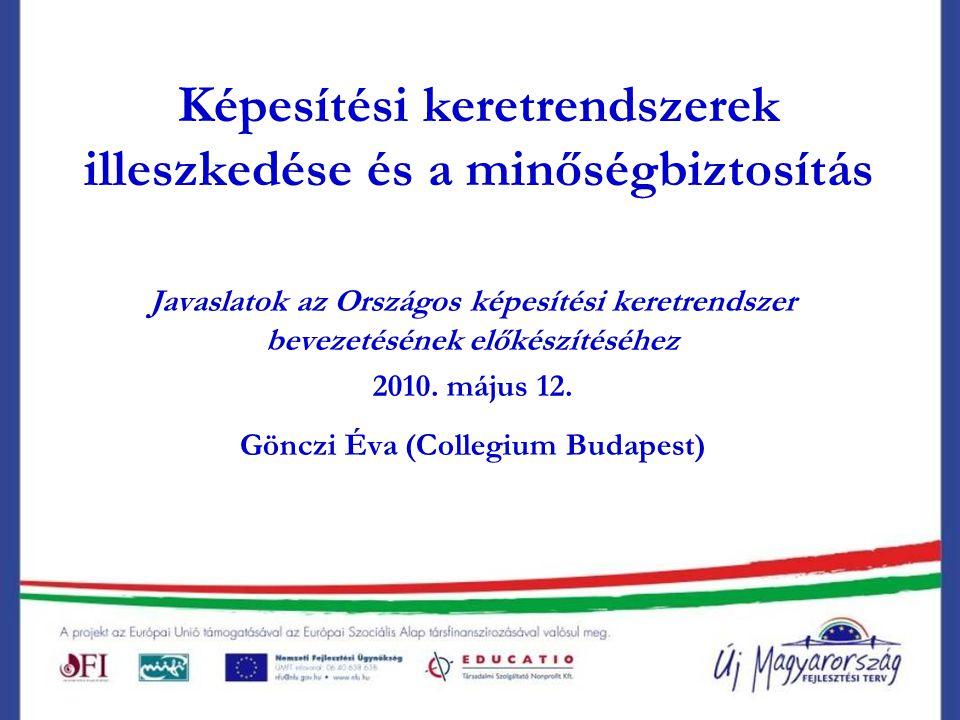 Képesítési keretrendszerek illeszkedése és a minőségbiztosítás Javaslatok az Országos képesítési keretrendszer bevezetésének előkészítéséhez 2010.
