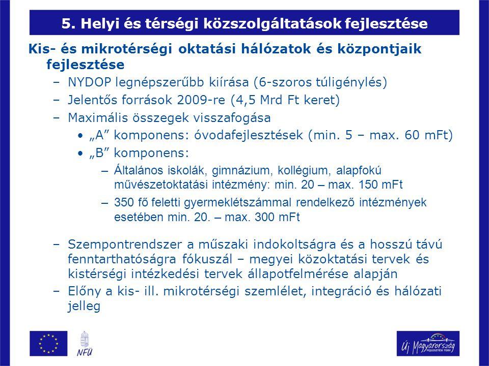 5. Helyi és térségi közszolgáltatások fejlesztése Kis- és mikrotérségi oktatási hálózatok és központjaik fejlesztése –NYDOP legnépszerűbb kiírása (6-s