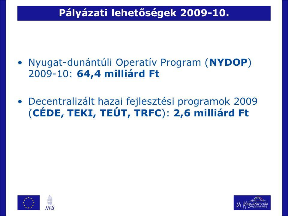 Pályázati lehetőségek 2009-10. Nyugat-dunántúli Operatív Program (NYDOP) 2009-10: 64,4 milliárd Ft Decentralizált hazai fejlesztési programok 2009 (CÉ