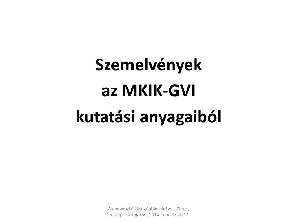 Szemelvények az MKIK-GVI kutatási anyagaiból Alapítványi és Magániskolák Egyesülete, Szakképzési Tagozat, 2014. február 20-21.
