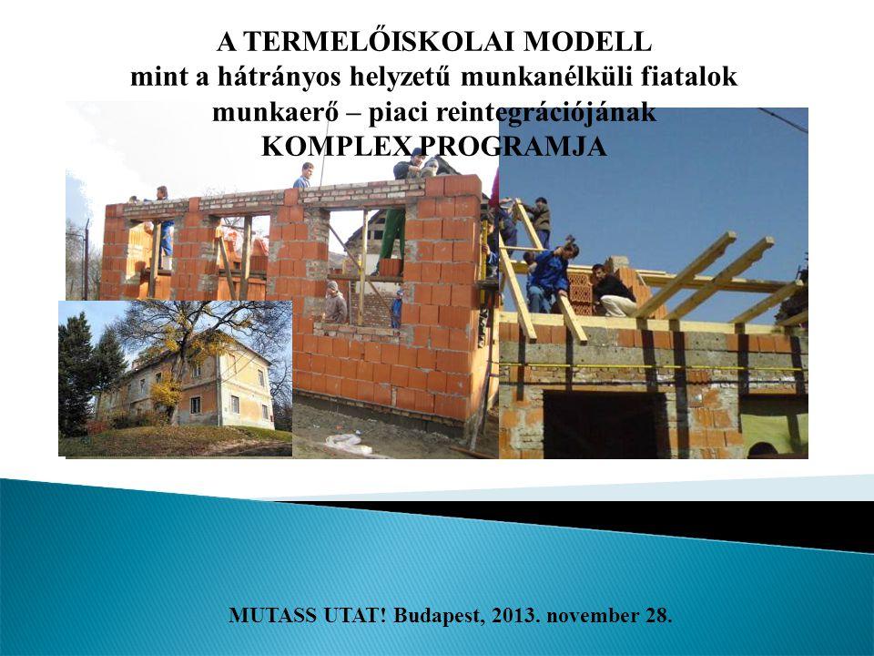 MUTASS UTAT! Budapest, 2013. november 28. A TERMELŐISKOLAI MODELL mint a hátrányos helyzetű munkanélküli fiatalok munkaerő – piaci reintegrációjának K