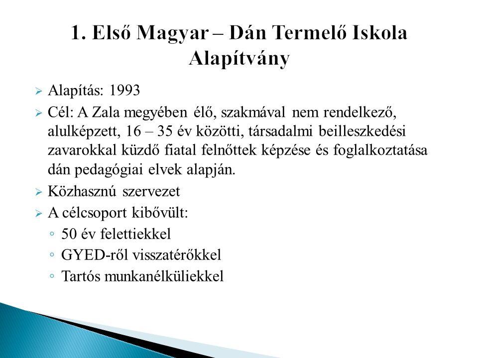  Alapítás: 1993  Cél: A Zala megyében élő, szakmával nem rendelkező, alulképzett, 16 – 35 év közötti, társadalmi beilleszkedési zavarokkal küzdő fia