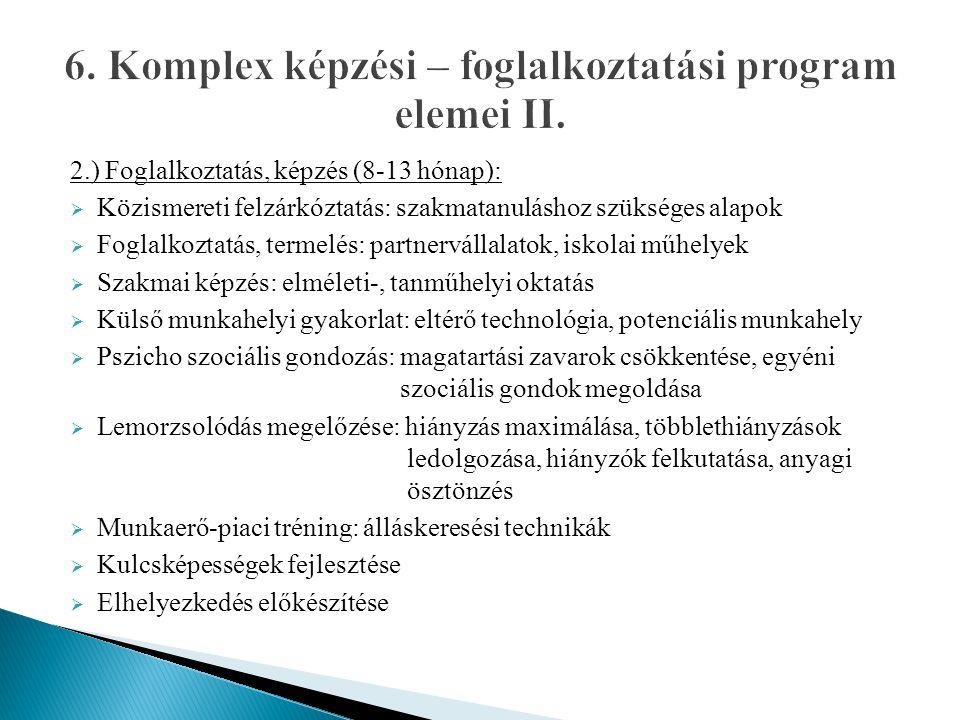 2.) Foglalkoztatás, képzés (8-13 hónap):  Közismereti felzárkóztatás: szakmatanuláshoz szükséges alapok  Foglalkoztatás, termelés: partnervállalatok