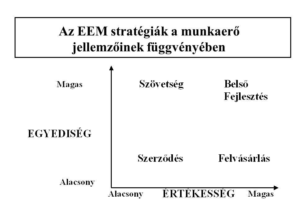 Az EEM stratégiák a munkaerő jellemzőinek függvényében