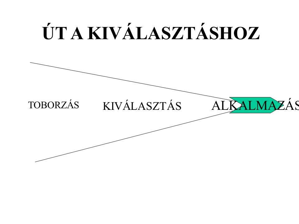 ÚT A KIVÁLASZTÁSHOZ ALKALMAZÁS TOBORZÁS KIVÁLASZTÁS