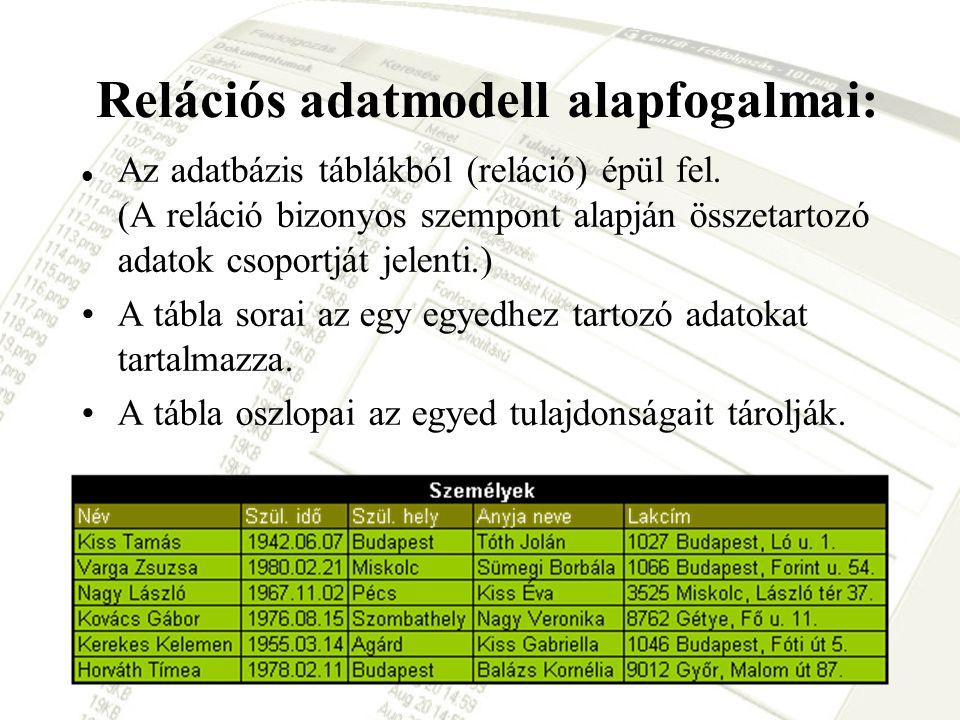 Relációs adatmodell alapfogalmai: Az adatbázis táblákból (reláció) épül fel. (A reláció bizonyos szempont alapján összetartozó adatok csoportját jelen
