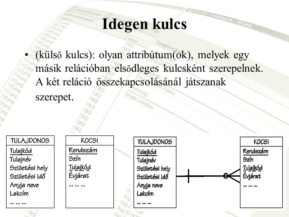 Idegen kulcs (küls ő kulcs): olyan attribútum(ok), melyek egy másik relációban els ő dleges kulcsként szerepelnek. A két reláció összekapcsolásánál já