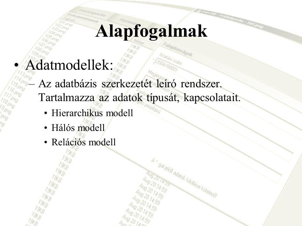 Alapfogalmak Adatmodellek: –Az adatbázis szerkezetét leíró rendszer. Tartalmazza az adatok típusát, kapcsolatait. Hierarchikus modell Hálós modell Rel
