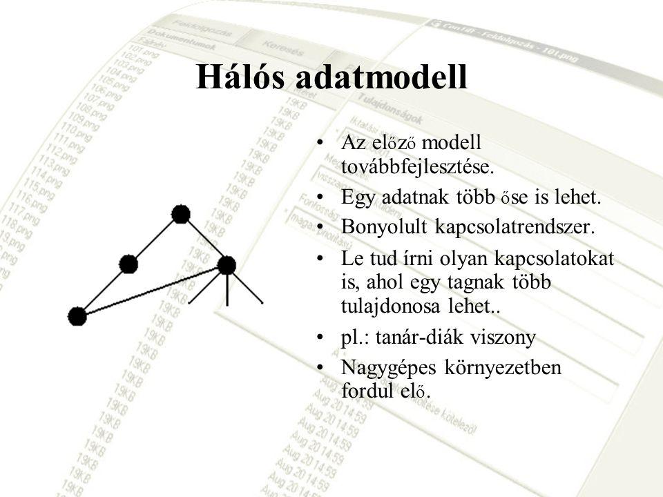 Hálós adatmodell Az el ő z ő modell továbbfejlesztése. Egy adatnak több ő se is lehet. Bonyolult kapcsolatrendszer. Le tud írni olyan kapcsolatokat is